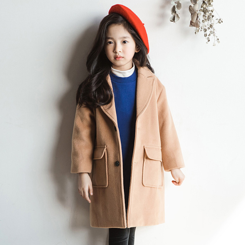 2019 Autumn Winter Kids Girls Woolen  Warm Coat Fashion Children Wool Blends Overcoat Big Girl Long Jackets For 6-14 Yrs