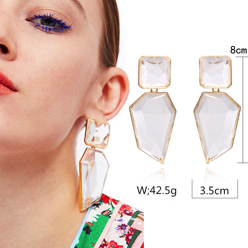 2020 ZA New Hot Fashion Earring Gold Color Resin Irregular Drop Earrings For Women Brincos Earing  Wedding Jewelry Girl Gift