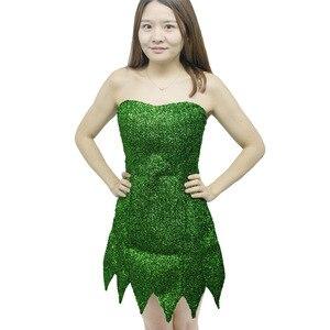Image 2 - 2019 nowy Pixie bajki Cosplay kostium Dzwoneczek zielony dla dorosłych sukienka Tinkerbell Halloween Party Sexy Cosplay Mini sukienki z długim rękawem duże peruka