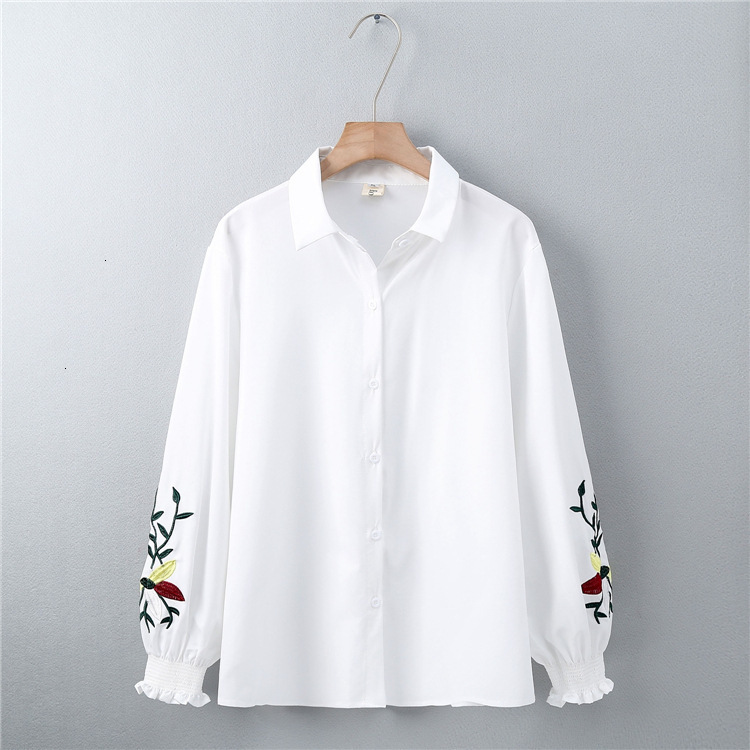 Blanc couleur bloc Blouse chemise haut pour femme mode récupérer bore Patch Long Mouwen Blouse décontractée