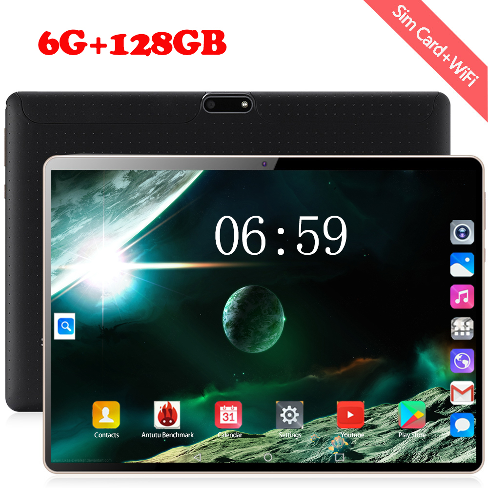 2020 Tempered Glass 6GB RAM 128GB ROM Tablet PC 10 Inch Android 8.0 3G 4G LTE Tablet 1280*800 Dual SIM GPS Phone Tablets 10.1