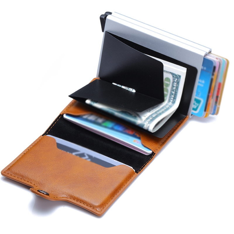 2019 New Automatic Coin Purse Credit Card Men's Retro Coin Wallet Card Bag PU Aluminum Alloy Card Package Anti-theft Package