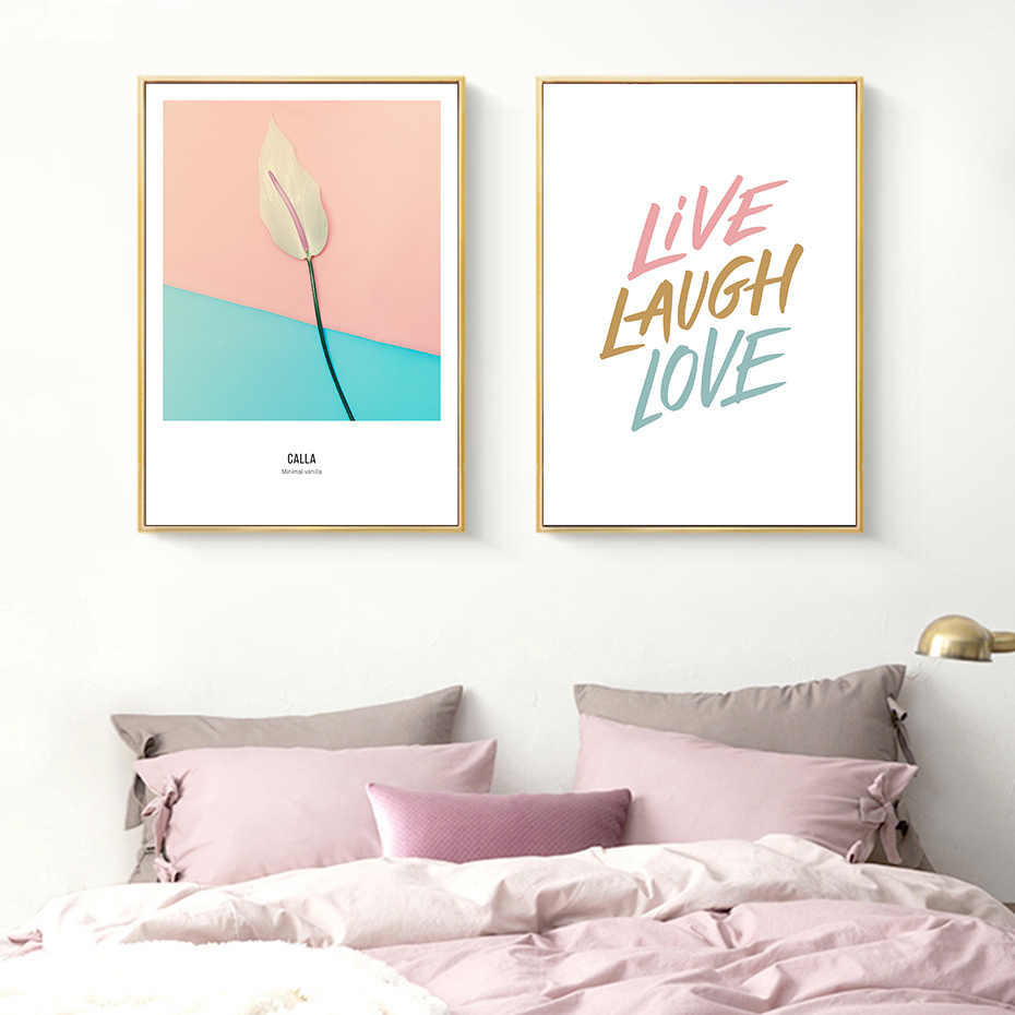Pink Flowers Painting Pop Art Nordic Scandinavian Poster Wall Art Canvas Print Pictures for Girls Bedroom Fashion Mural Decor