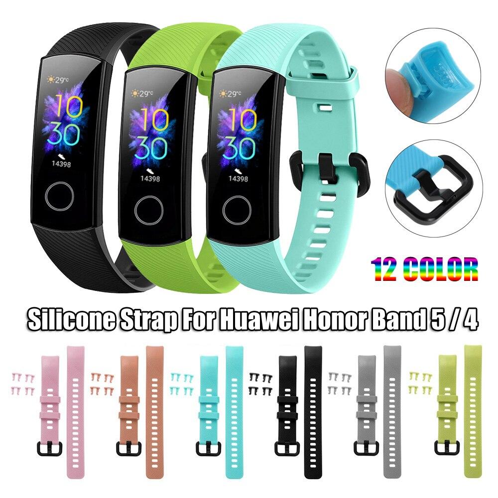 Nuevo reloj de silicona correa de repuesto para Huawei Honor Band 5 4 muñequeras deportivas coloridas