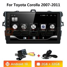 2Din Android 10 2G + 32G Mobil Radio Multimedia Player untuk Toyota Corolla 2007-2011 CAM-USB DVR SWC OBD DTV Bt Video Gps NAV Wifi(China)