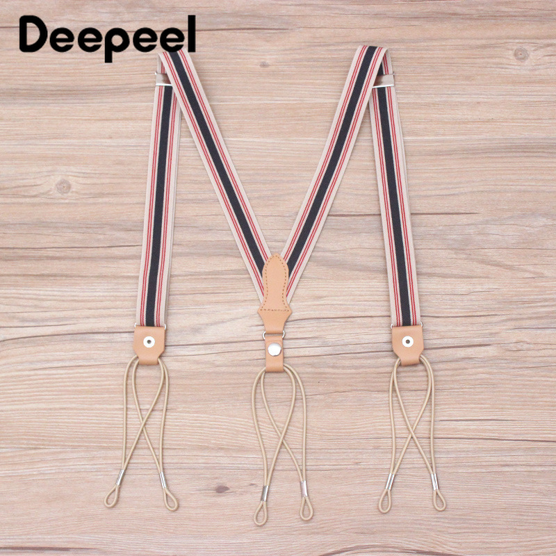 Deepeel 1pc 2.5*115cm Gentleman Style Retro Elastic Webbing Adjustable Hang Button Strap Suspenders Pants Telescopic Strap SP071