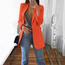 Блейзер Женщин Осень Зима длинный рукав офис пальто кардиганы костюм длинный пиджак блейзер женщин пиджак Feminino