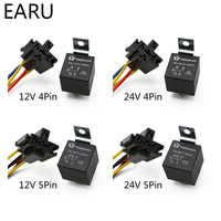 Waterproof Automotive Relay 12V 24V 4pin 5pin 4P 5P 40A Car Relay With Black Red Copper Terminal Auto Relay With Relay Socket