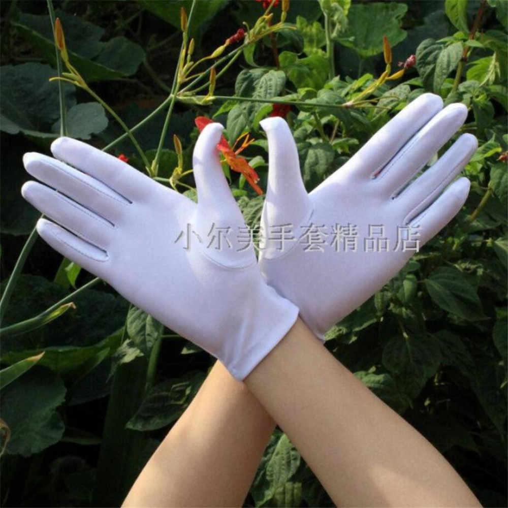 2pcs = 1 זוג שחור לבן קיץ כפפות גברים/נשים ספנדקס כפפות טקסיות חלק למתוח Fit יד כפפות ריקוד תכשיטים
