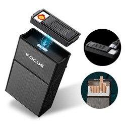 Étui à cigarettes de mise au point avec porte-briquet magnétique fendu boîte à cigarettes étanche USB allume-cigare électrique Rechargeable FD070