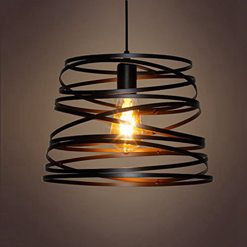 LukLoy Iron Spiral Pendant Light Black / White Spring  Kitchen Island Suspension Lamp Dining Room Chandeliers Lighting Fixture