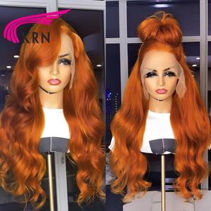 Ginger Orange Pure Color 13X6 Lace Front Human Hair Wigs Body Wave Remy 26Inch Long Middle Part Lace Frontal Wigs For Women