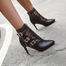 Обувь с острым носком и пряжкой короткие ботинки для отдыха