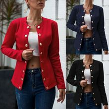 European American Fashion Casual Womens Blazer Long Sleeve Solid Color Suit Double Breasted Small Female Streetwear Jacket