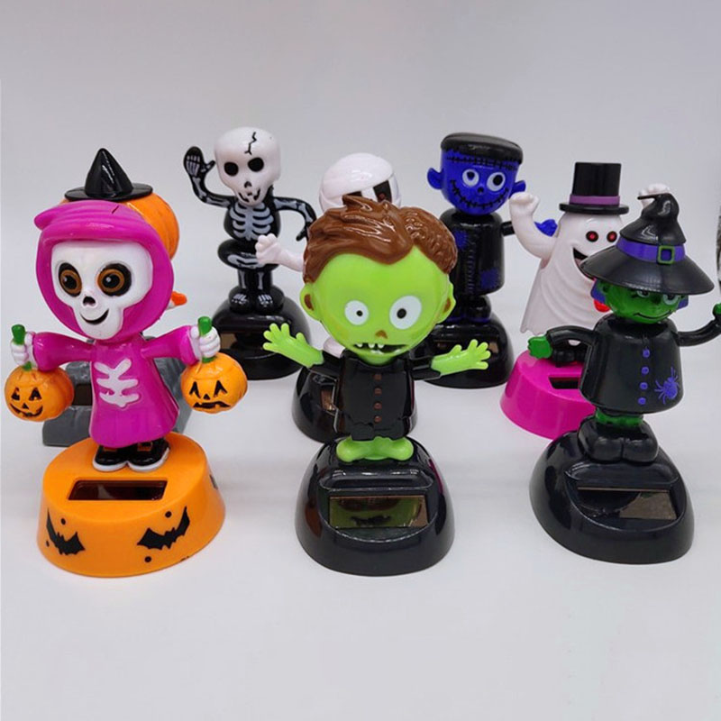 1Pcs Fashion Cute Halloween Style Monster Witch Swing Solar Fun Toys Multi-Function Vibrant Automobiles Balcony Desk Crafts