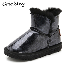 Children Snow Boots Patent Leather Bling Girls Winter Boots Non Slip Keep Warm Kids Boys Ankle Boots Thick Fur Winter Shoes kids ankle boots girls boys chelsea boots girls autumn children winter cotton shoes warm snow boots 020