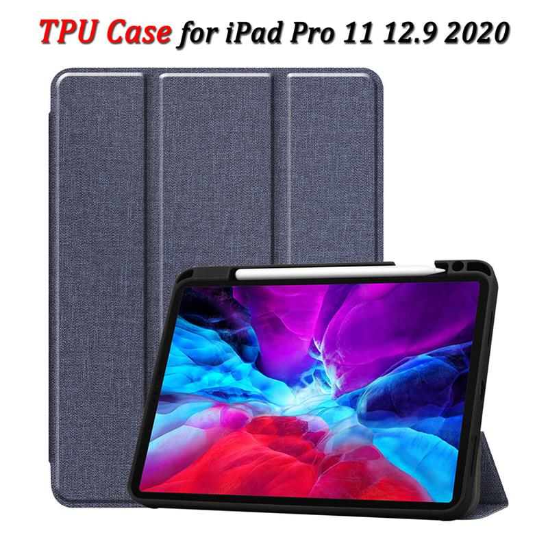 For IPad Pro 11 Case 2020 With Pen Holder TPU Cloth Pattern Smart Wake Sleep Tablet Flip Cover For Apple IPad Pro 12.9 2020 Case