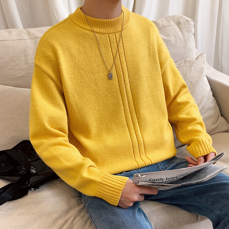 2019 Winter Men's Round Neck Knitting Slim Fit Coats In Warm Cashmere Pullover Casual Male Clothes 9 Color Woolen Sweaters M-2XL