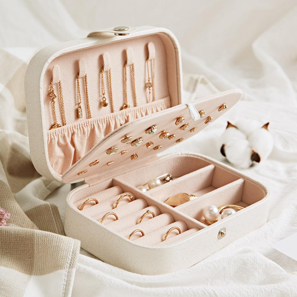 2019 New Jewelry Women 2 Tiers Jewelry Portable Box Earrings Travel Case Storage Organizer Container Jewelry Organizer Accessori