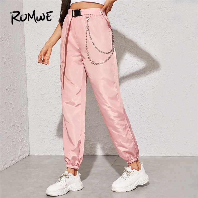 ROMWE Push Buckle Belted Chain Detail Wind High Waist Pants Women Streetwear Vintage Pants Autumn Solid Elastic Cuff Cargo Pants