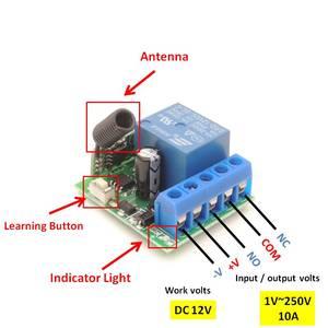 Image 4 - 433 433mhzのユニバーサルリモートコントロールdc 12v 10Amp 1CH rfリレー受信機と送信機用カーテンとガレージドア制御