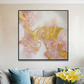 Gold abstract canvas painting wall art pictures for living room home decor original acrylic texture quadros caudro