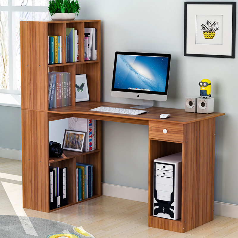 Man Patriarch Computer Table Simple Desktop Table Household Economic Office Desk Bookcase Combination Doing Homework Table