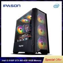IPASON-ordenador de escritorio para videojuegos, dispositivo de 4 núcleos I3 9100F/GTX960, 4G, SSD de 240G, 8/16 GB de RAM, ensamblaje de bricolaje, LOL/de juego tipo PUBG, alto rendimiento, bricolaje