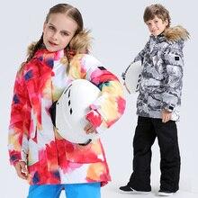 Детская Лыжная куртка, зимняя водонепроницаемая дышащая ветронепроницаемая теплая одежда для сноуборда для мальчиков и девочек, детская спортивная куртка