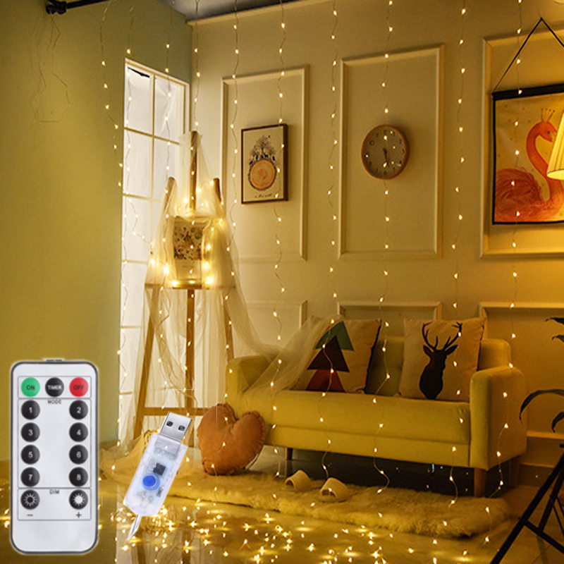 3M USB LED Curtain String Lights Flash Fairy Garland Remote Control For New Year Christmas Indoor Outdoor Wedding Home Decor