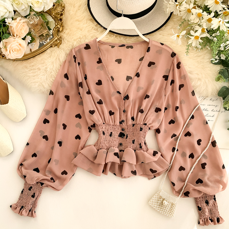 Classic Casual V-neck Puffy Sleeve Chiffon Prints Blouse Romanitic Heart Prints Ruffled Chiffon Top image