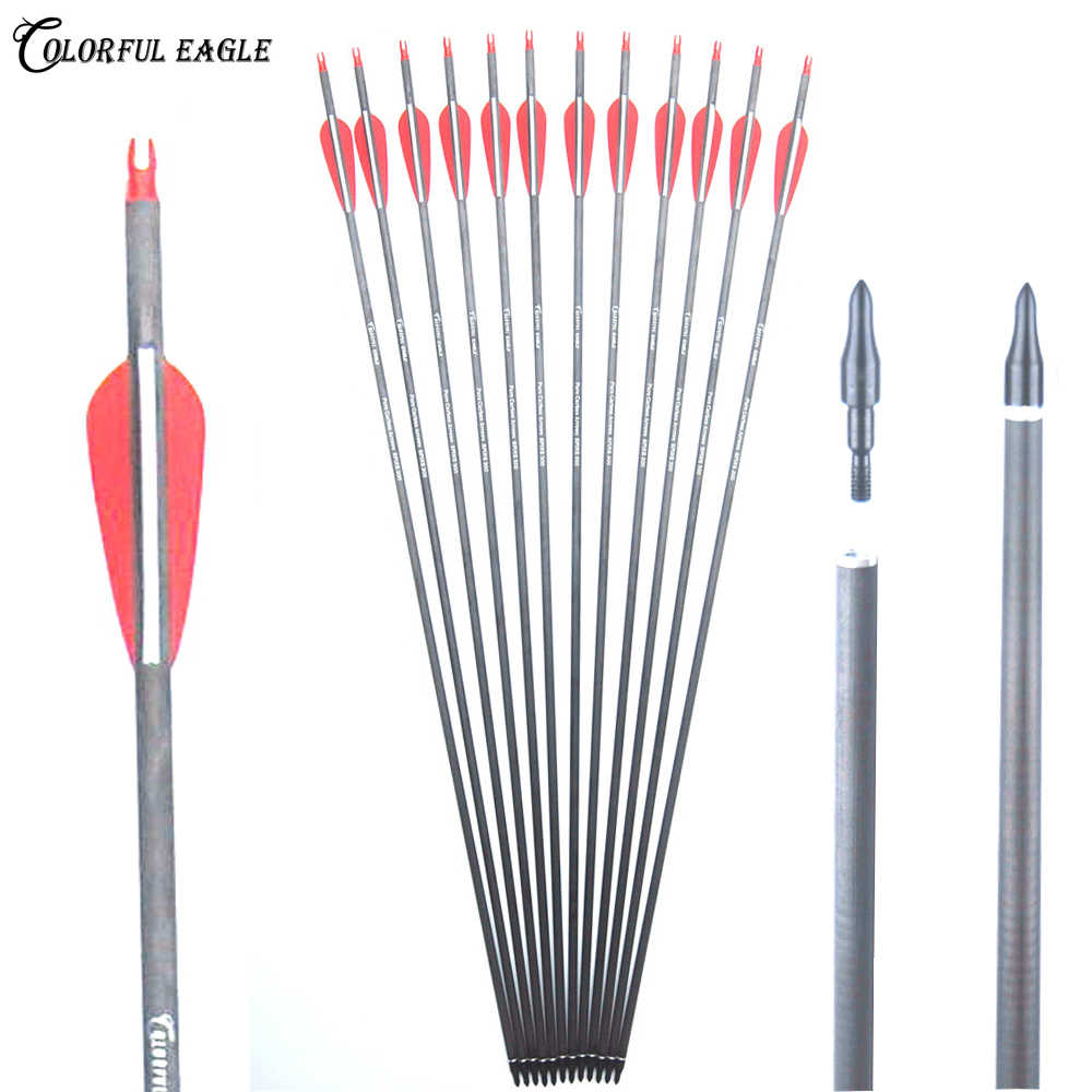 6-24PCS 32/'/' Carbon Arrows Archery Nocks Target Hunting Recurve Bow Screw Tips