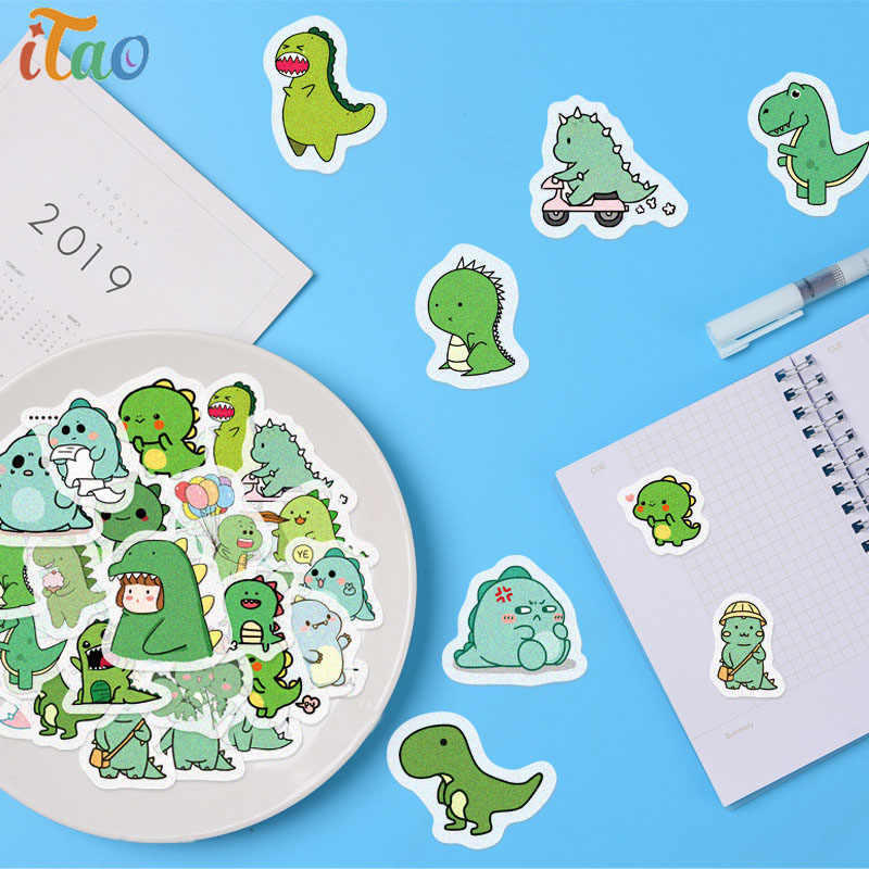 40Pcs Cartoon Dieren Kleine Dinosaurus Stickers Waterdicht Creativiteit Decoratie Scrapbooking Album Dagboek Label Kids Leuke Sticker