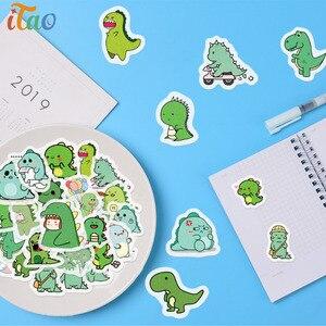 40pcs Cartoon Animals Little Dinosaur Stickers Waterproof Creativity Decoration Scrapbooking Album Diary Label Kids Cute Sticker