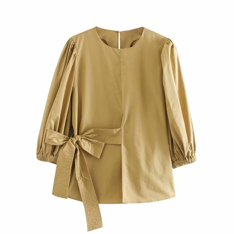 New Women Elegant  Bow Decoration Solid Color Casual Smock Blouse Ladies O Neck Lantern Sleeve Chic Femininas Shirts Tops LS6387