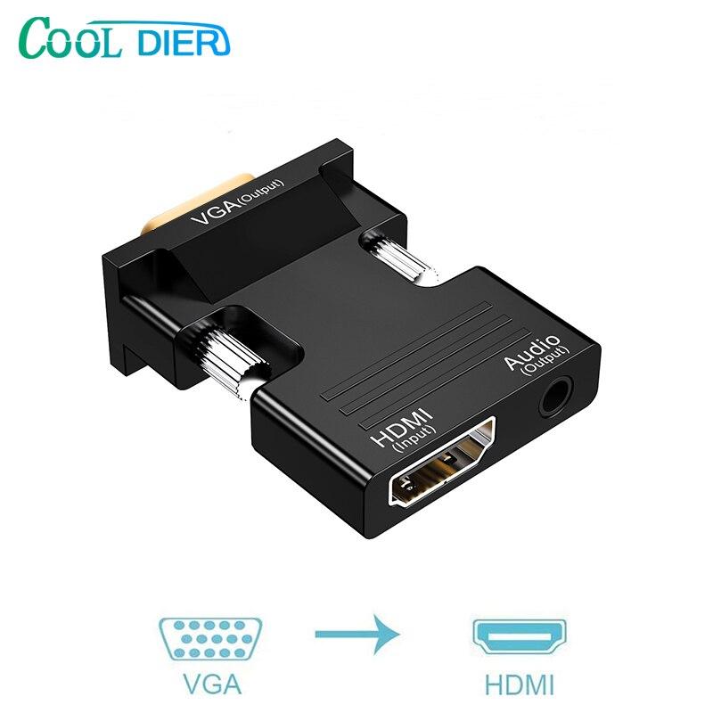 KÜHLEN DIER 1080P signal ausgang VGA zu HDMI mini adapter konverter Kabel mit audio adapter para PC Laptop TV box proyector