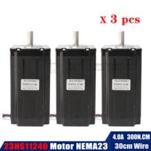 3 шт. NEMA 23 112 мм(4.0A, 300N. cm) 23HS11240 NEMA23 черный мотор для робота и ЧПУ Гравировальный фрезерный станок 3D принтер