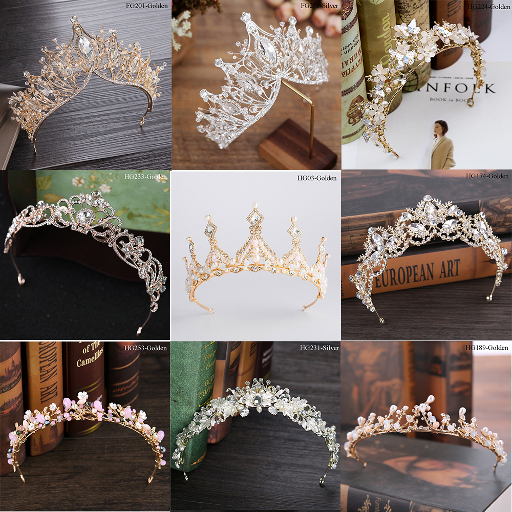 Traugel Luxury Gold Crystal Bridal Crown Tiaras Fashion Queen For Women Wedding Crown Headpiece Wedding Hair Jewelry Accessories