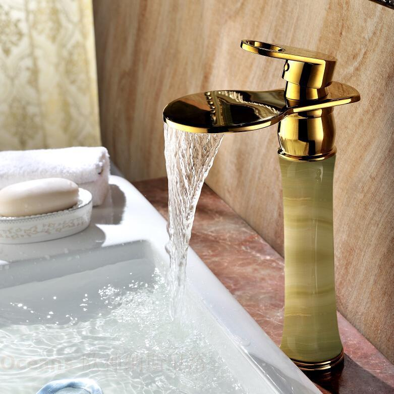 European antique marble counter basin gold-plated copper waterfall basin mixer full of hot and cold taps natural jade