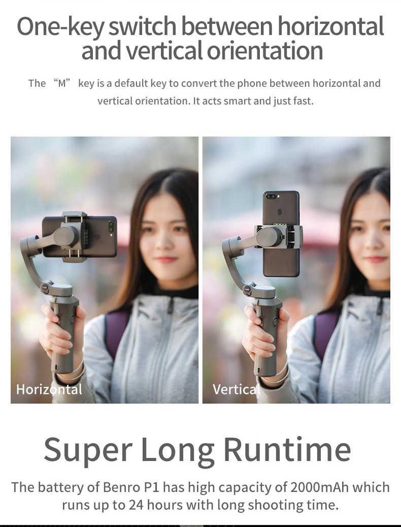 BENRO P1 3-осевой Ручной Стабилизатор для смартфона Gopro hero 7 iPhone huawei Xiaomi PK Snoppa Atom DJI Osmo mobile 3 2