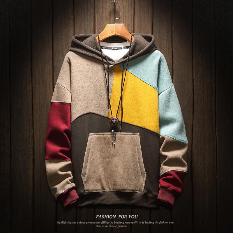 Brand Men Hoodies Sweatshirts Men Patchwork Print Long Sleeve Hoodie Hip Hop Streetwear Clothing Plus Size