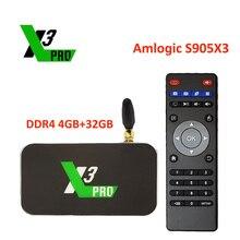 Ugoos x3cube amlogic s905x3 android caixa de tv 4gb ddr4 16gb 32 rom 2.4g 5g wifi 1000m x3 pro lan 4k hd media player