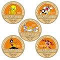 Anime Cartoon Gold Überzogene Commemoative Münze Sammlerstücke in Münze Halter Amerika Bunny Herausforderung Münze Weihnachten Geschenk für Kinder