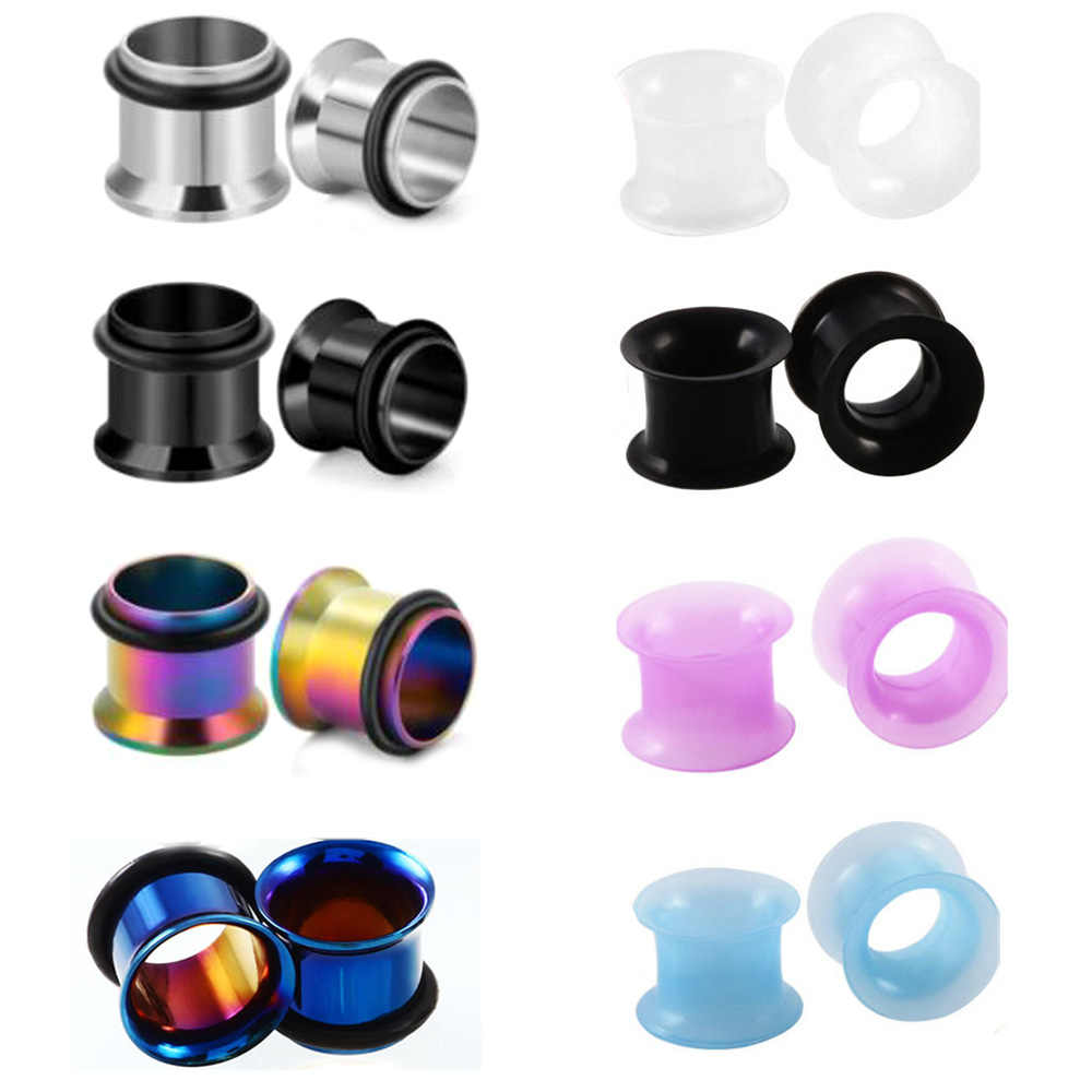 Piercing Industrial 4PCS Acrylic Silicone Ear Flare Screw Stretching Kit Print Taper Ring Hollow Plug Tunnel Expander Gauges Set