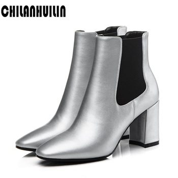new arrival brand fashion shoes woman boots elasticated genuine leather ankle boots pointed toe high heel boots sexy ladies pump