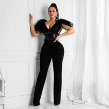 Women Jumpsuit Fashion Sexy Solid Color V Neck Mesh Bow PU Leather Waist Seal Jumpsuits Party Playsuit Ropa Mujer 2020 New Hot E