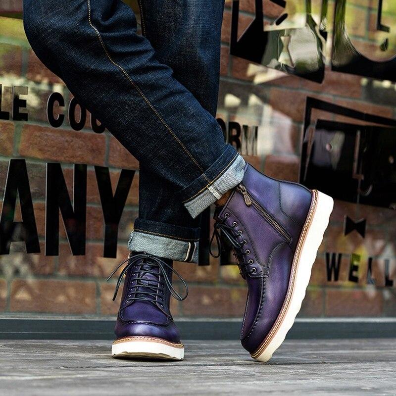 Новинка; модная мужская удобная обувь на шнурках ручной работы из натуральной кожи с круглым носком; мужская обувь на плоской платформе; бот... - 6