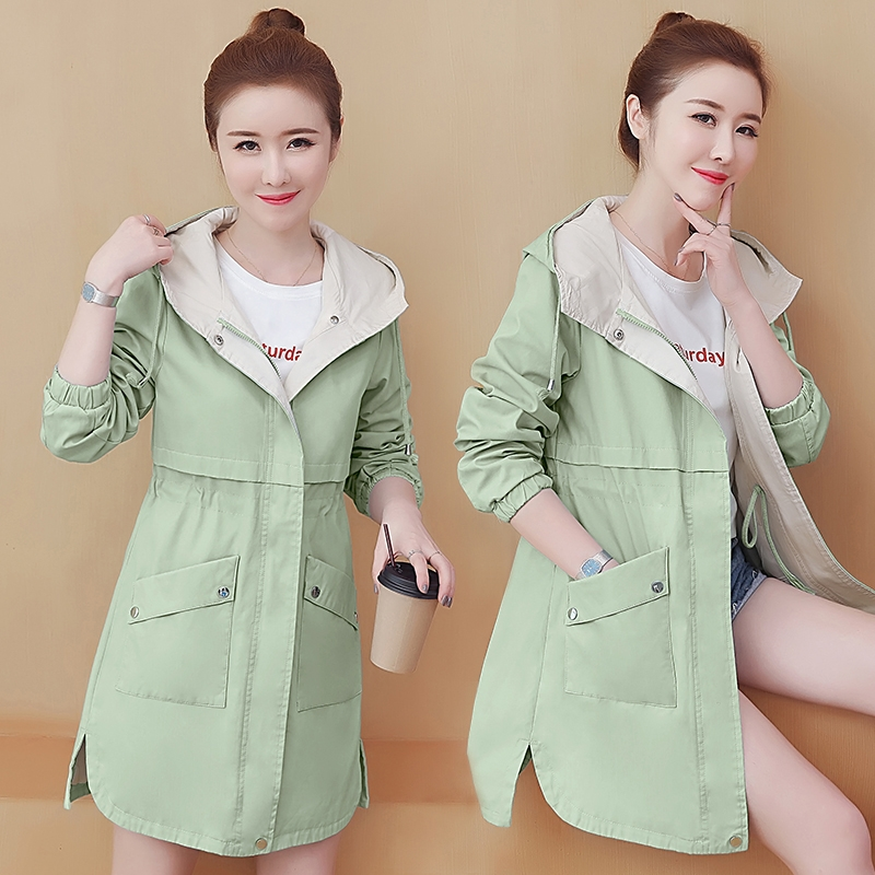 New Women Clothing Hooded Trench Coat Spring Autumn Korean Slim Female Student Windbreaker Large Size Loose Ladies Outerwear W52