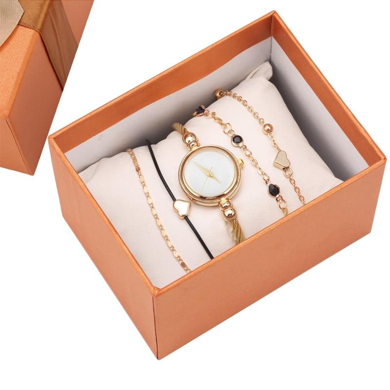 6 Pcs/Set Punk Women Bracelets Watch Casual Gold Multilayer Chain Bracelet Watch Set Women Chain Links Exquisite Party Jewelry