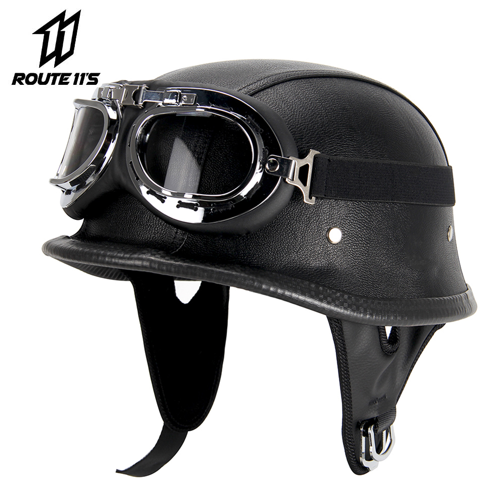 Half Helmet Black Dot Adult German Style added leather protection with goggles L
